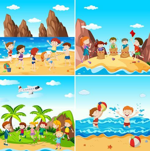 En uppsättning barn på stranden