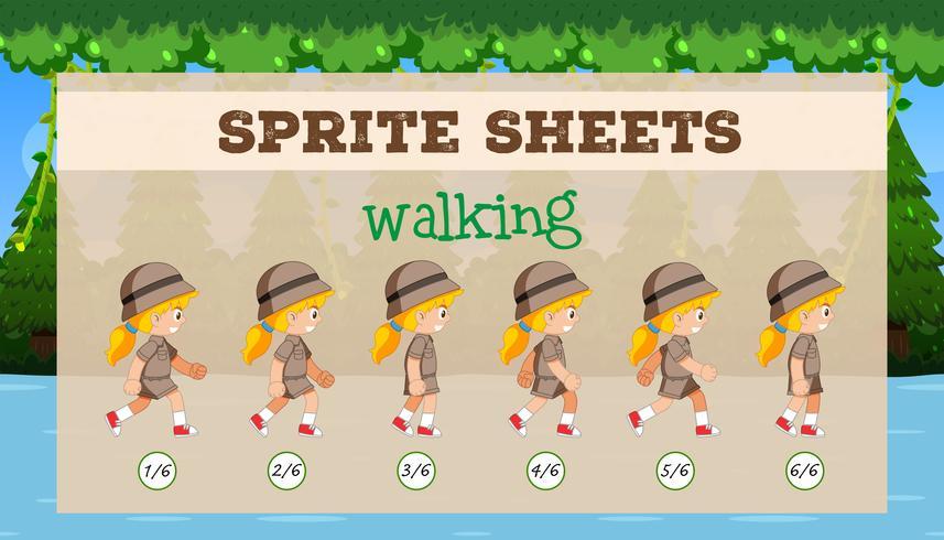 Sprite Sheet Girl Walking vektor