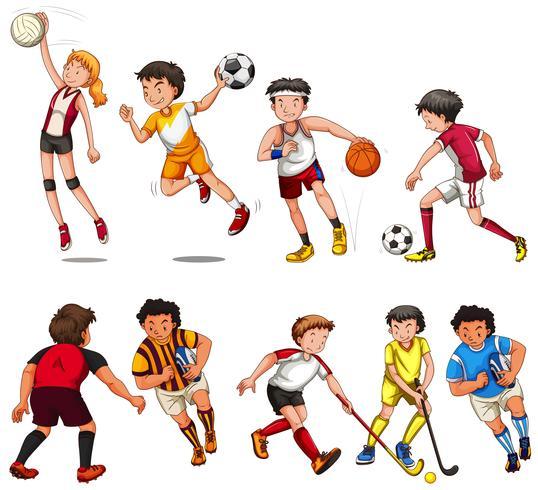 Man en vrouw die verschillende soorten sport spelen