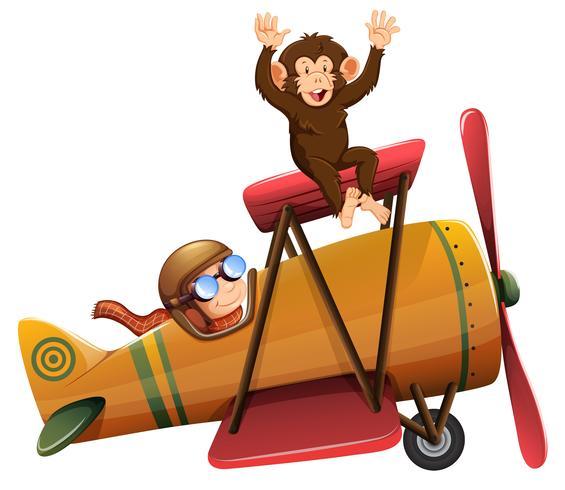 Un pilota in sella all'aereo con scimmia
