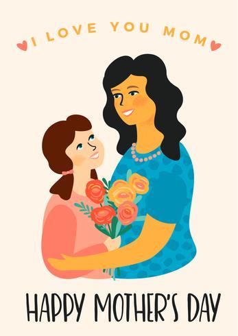Feliz día de la madre. Ilustración de vector con las mujeres y el niño.