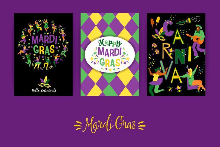 Mardi Gras. Plantillas vectoriales para el concepto de carnaval y otros usuarios.
