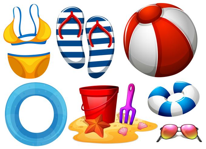 Strandbekleidung und anderes Strandspielzeug