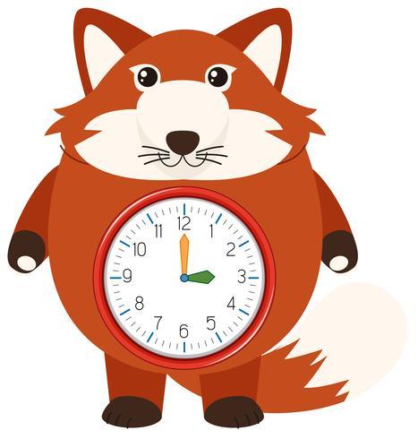 Um, raposa vermelha, relógio