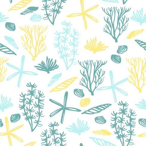 Trendy zee naadloze patroon met hand textuur.