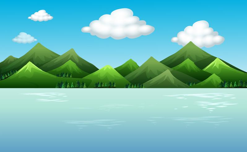 Background scene with mountains and lake - Download Free Vector Art, Stock Graphics & Images
