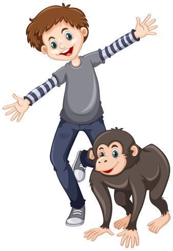 Kleiner Junge mit niedlichem Schimpanse