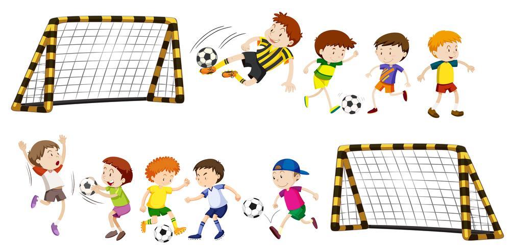 Voetbaldoel en jongens die een bal spelen
