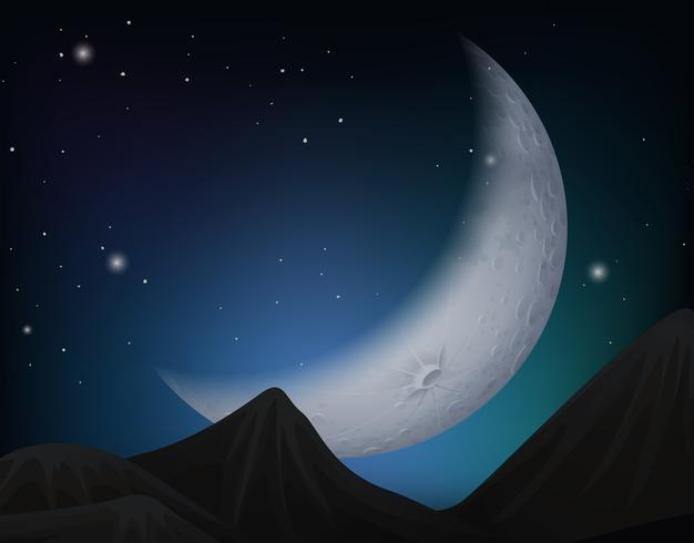 Cresent Mond über Hügelszene