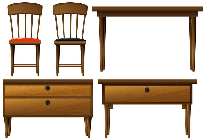 Molti tipi di mobili in legno