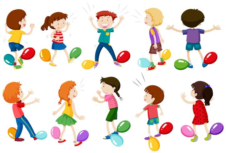 Children Play Balloon Stomp Game - Download Free Vector Art, Stock Graphics & Images