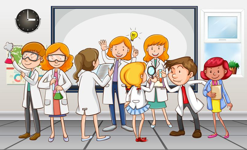Scientists and teacher in the classroom