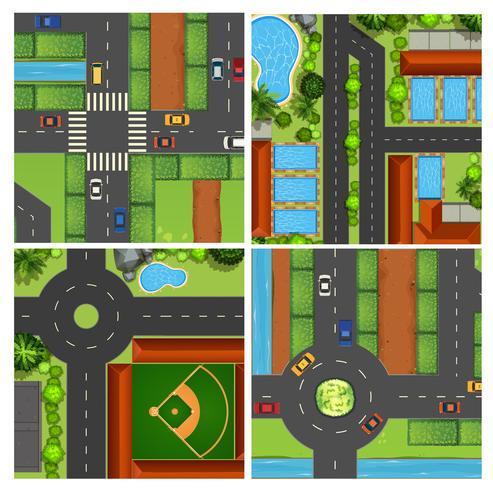 Set van luchtfoto's van de weg