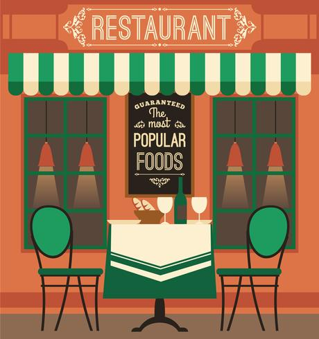 Moderne flache Designillustration des Vektors des Restaurants.