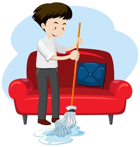 Een jongeman schoonmaakhuis