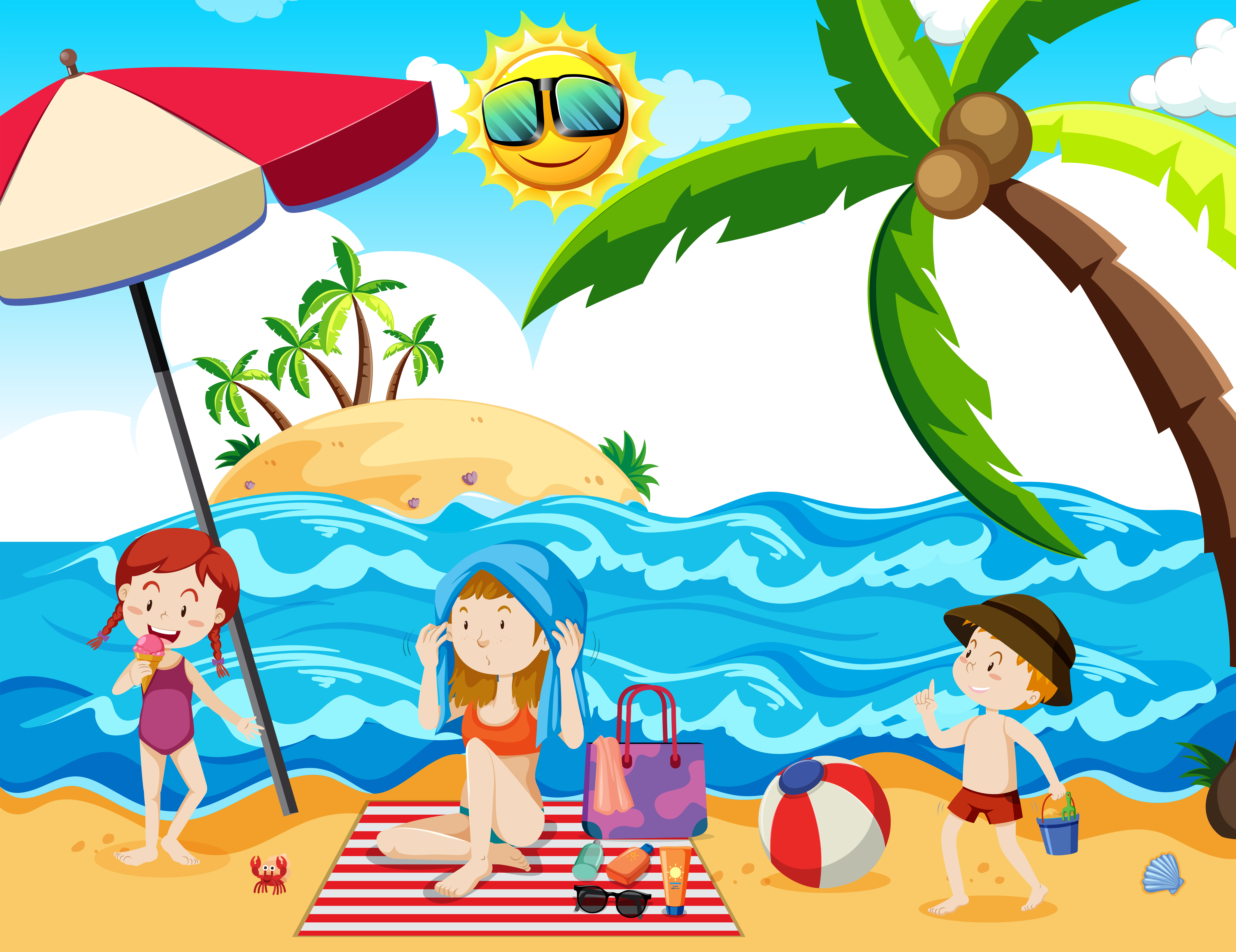 A Family Summer Holiday at Beach - Download Free Vectors ...