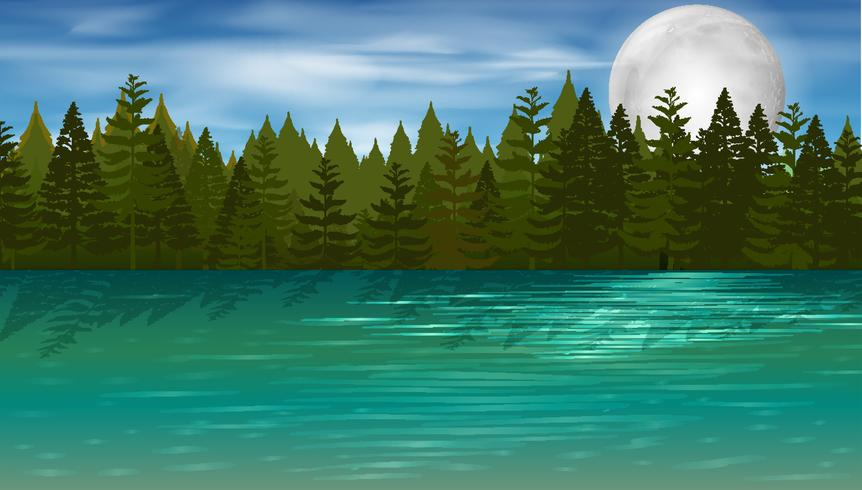 Background scene with pine trees by the lake - Download Free Vector Art, Stock Graphics & Images