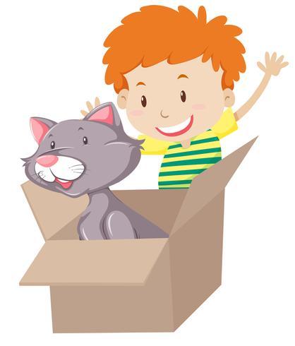 Kinder spielen mit Katze in der Box