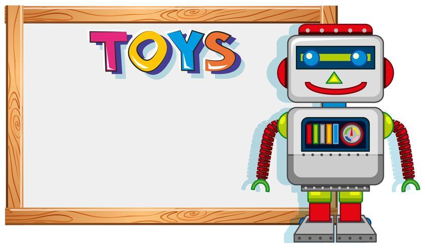 Holzrahmen mit Roboterspielzeug