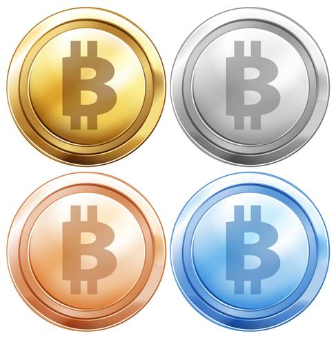 Vier Ausführungen von Bitcoins