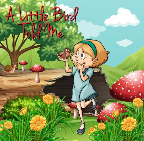Idiom-Poster für den kleinen Vogel sagte es mir
