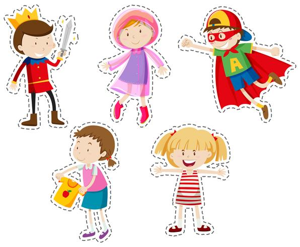 Sticker set van meisjes en jongens