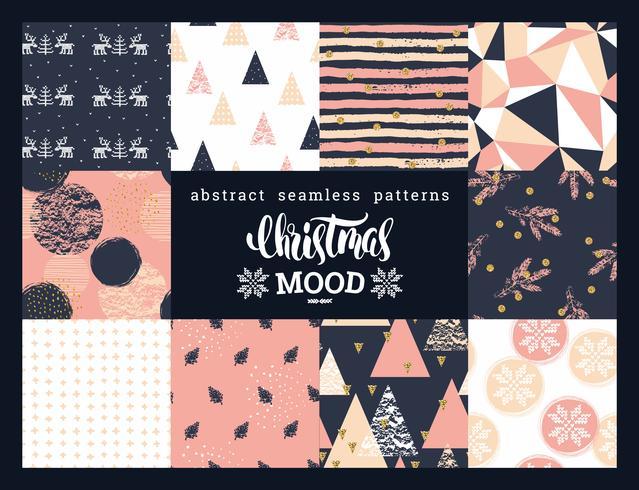 Kerstmis en Nieuwjaar abstracte geometrische sier naadloze patronen.