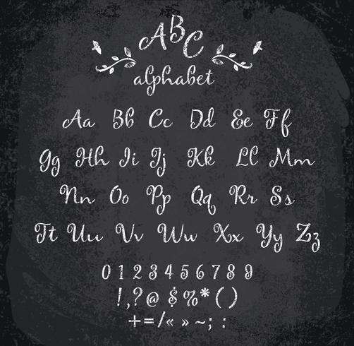 Illustration vectorielle de l'alphabet à la craie. vecteur