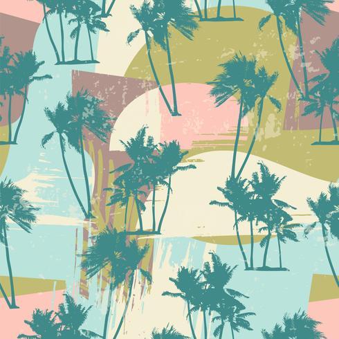 Nahtloses exotisches Muster mit tropischen Palmen und künstlerischem Hintergrund.