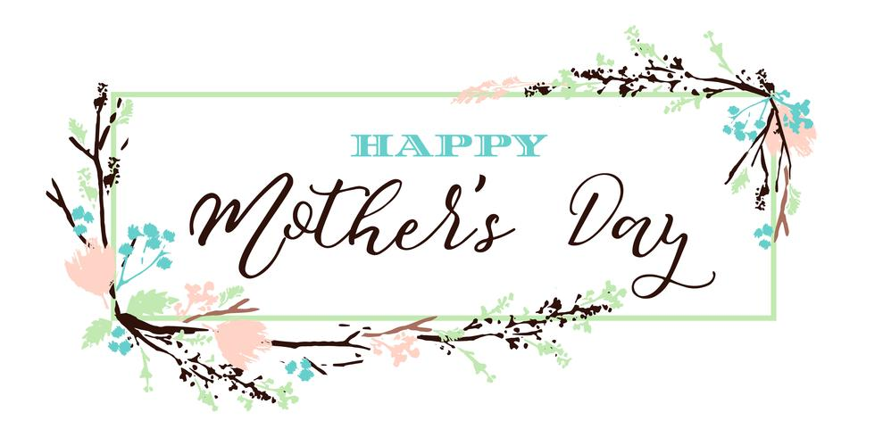 Heureuse fête des mères lettrage bannière de voeux avec des fleurs.