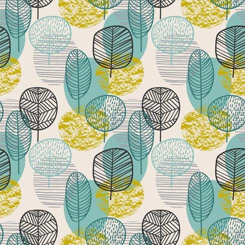 Abstrakt höst sömlös mönster med träd. Vektor bakgrund för olika yta.