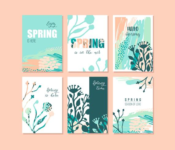 Set of abstract creative Spring cards. Fresh colors.