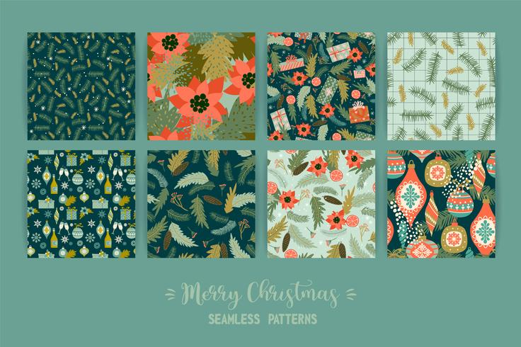 Set of Christmas and Happy New Year seamless patterns.