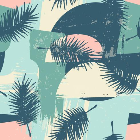 Seamless exotic pattern with tropical plants and artistic background. vector