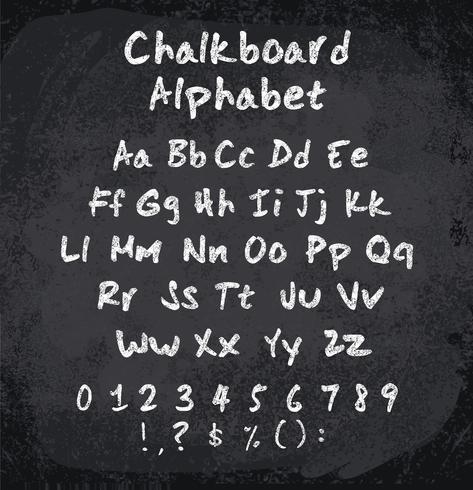 Vektor illustration av chalked alfabetet. Imitationsteknik av krita
