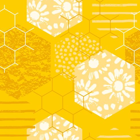 Sin fisuras patrón geométrico con nido de abeja. Texturas dibujadas a mano de moda.
