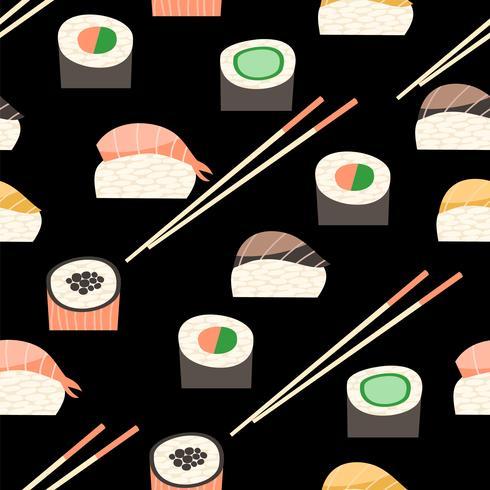 Padrão sem emenda com diferentes tipos de sushi.