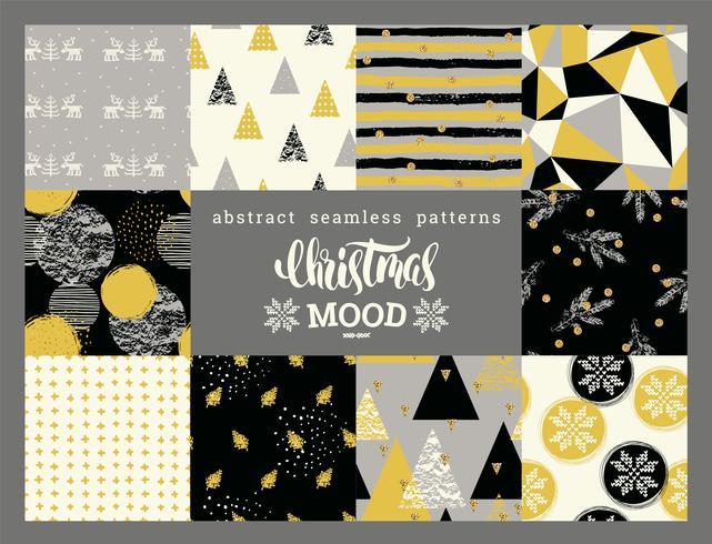 Set di Natale e Capodanno. Astratti motivi geometrici e ornamentali senza soluzione di continuità.