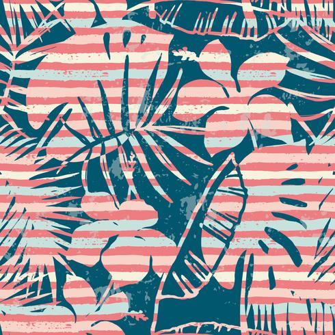 Modèle exotique sans soudure avec des plantes tropicales et fond de rayures.