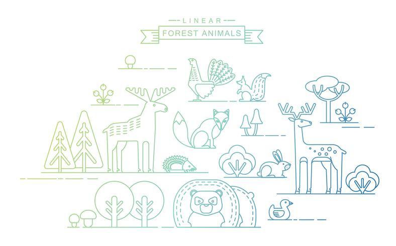 Vektor illustrationer av skogsdjur.