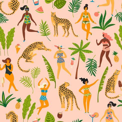 Vector el modelo inconsútil con los ladyes del baile en trajes de baño y leopardos.