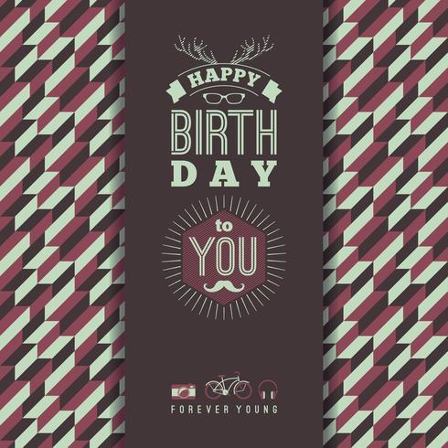 Felicitaciones de feliz cumpleaños, fondo retro vintage con ge