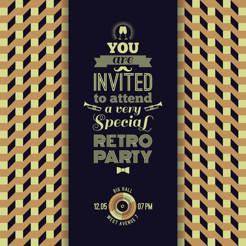 Invitation à une soirée rétro. Vintage fond géométrique rétro.