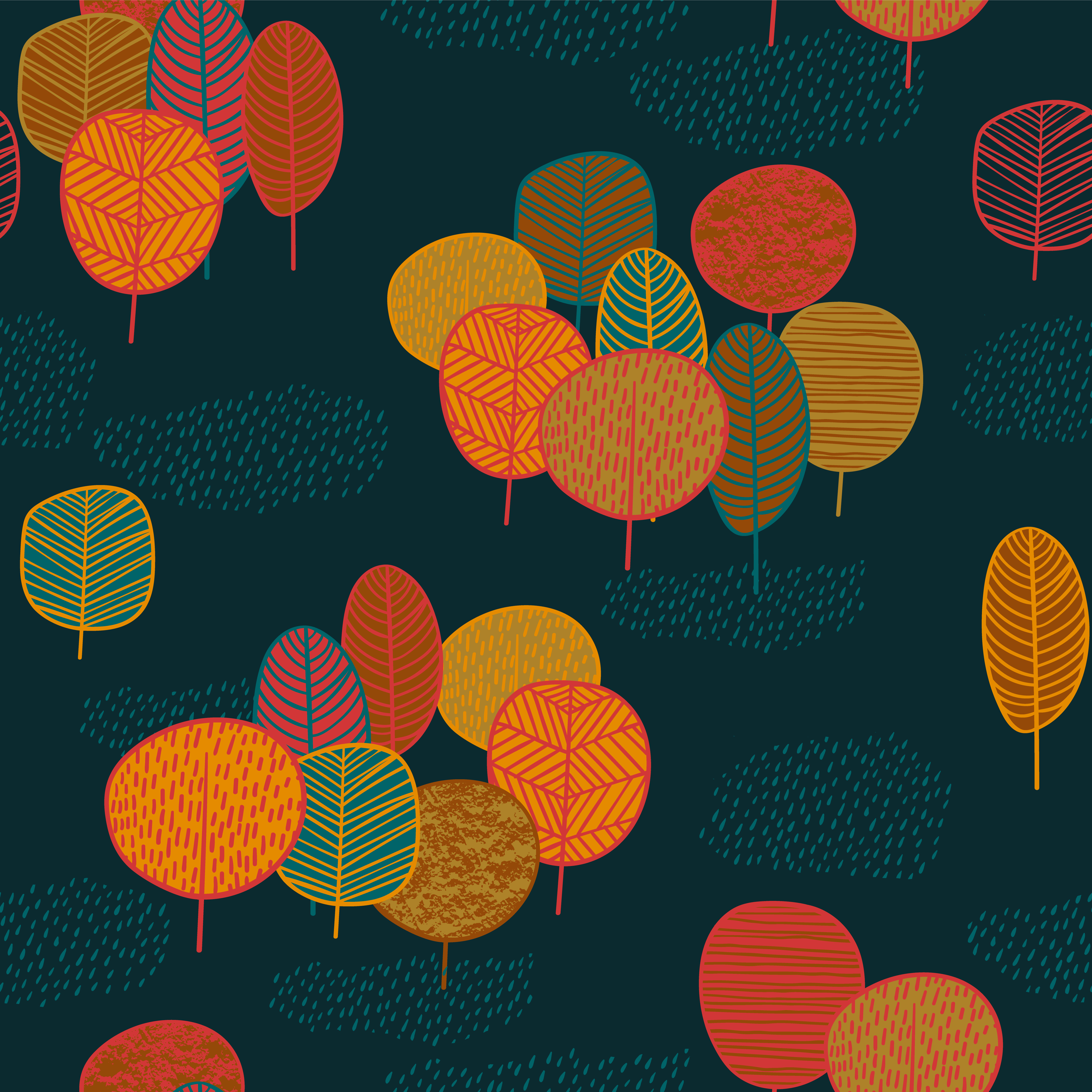 Abstract Autumn Seamless Pattern With Trees. Vector
