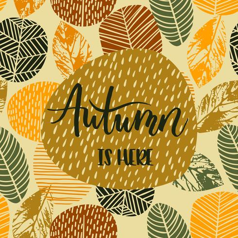 Lettering design with abstract autumn background with leaves.