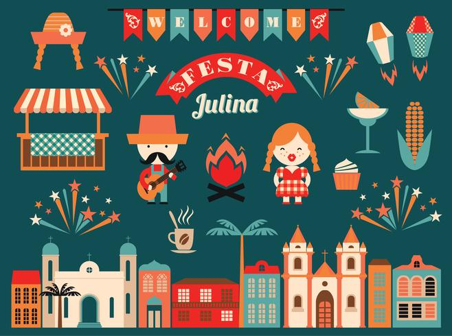 Latin American holiday, the June party of Brazil. vector