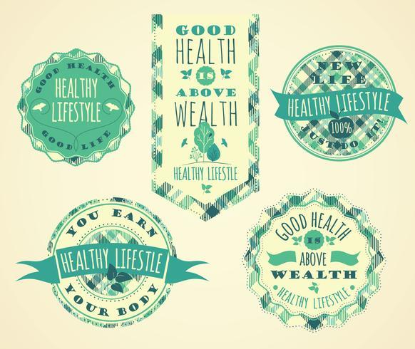 Set van gezonde levensstijl etiketten en tekens