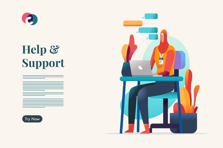 Chat-ondersteuning. Moslim werknemer vectorillustratie
