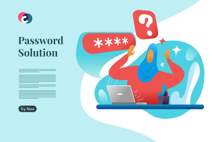 Soluzione password. Vettore del modello di pagina di destinazione Web