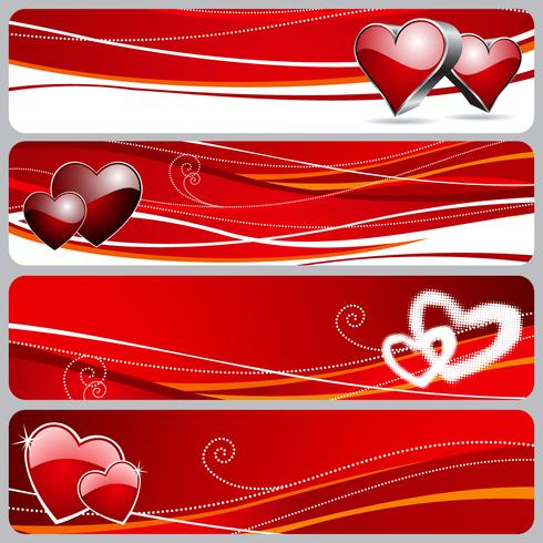 Quatre bannière graphique avec illustration de la Saint-Valentin